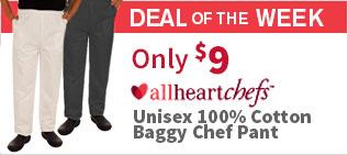 allheartchefs Unisex 100% Cotton Baggy Chef Pant