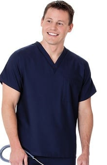 unisex tops: Fundamentals by White Swan Unisex V-Neck With 1 Left Chest Pocket Solid Scrub Top