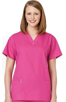 XXS: Fundamentals by White Swan Women's 2-Pocket V-Neck Solid Scrub Top