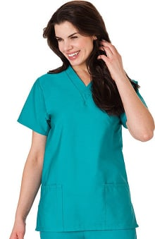 Fundamentals by White Swan Women's 2-Pocket V-Neck Solid Scrub Top
