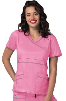 Pop Stretch Taskwear by Adar Women's Crossover V-Neck Solid Scrub Top