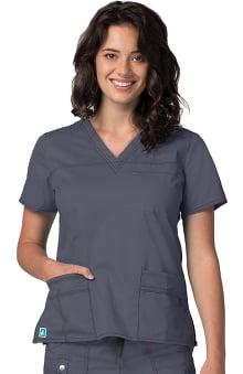 charcoal gray: Pop Stretch Taskwear by Adar Women's V-Neck Top