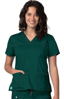 Clearance Pop Stretch Taskwear by Adar Women's V-Neck Solid Scrub Top