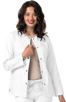 Pop Stretch Taskwear By Adar Women's Crew Neck Scrub Jacket