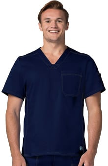 Pop Stretch Taskwear by Adar Men's V-Neck Scrub Top