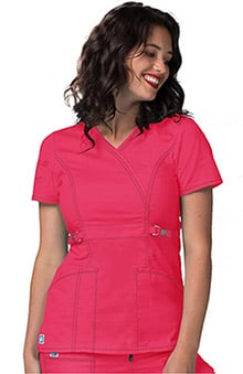 Pop Stretch Taskwear by Adar Women's Crossover V-Neck Scrub Top