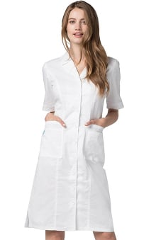 Pop Stretch Taskwear by Adar Women's Smocked Back Short Sleeve Scrub Dress