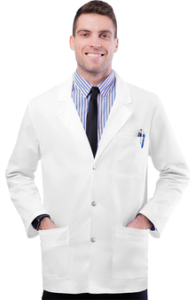 "Pop Stretch Taskwear by Adar Men's Snap Front 31"" Lab Coat"