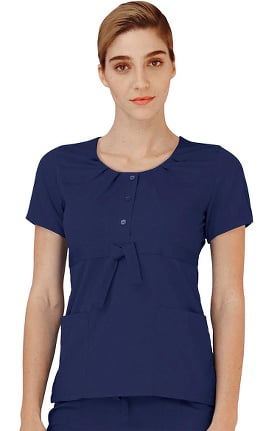 Indulgence by Adar Women's Scoop Neck Pleated Scrub Top