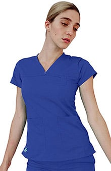 Indulgence by Adar Women's Curved V-Neck Scrub Top