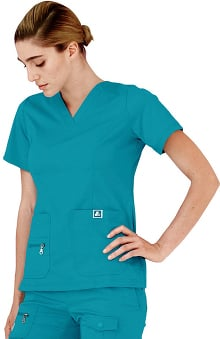Indulgence by Adar Women's V-Neck Princess Seam Solid Scrub Top