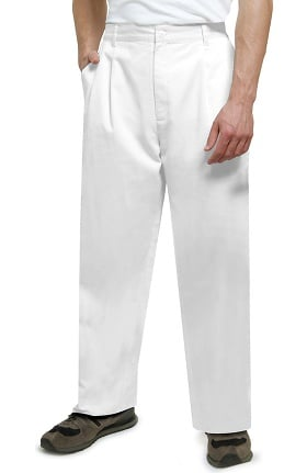 Universal Basics by Adar Men's Twill Pleated Solid Scrub Pant