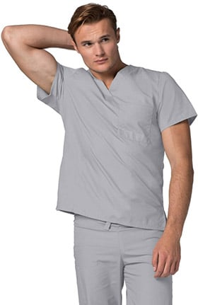 Universal Basics by Adar Unisex V-Neck 1 Pocket Tunic Solid Scrub Top