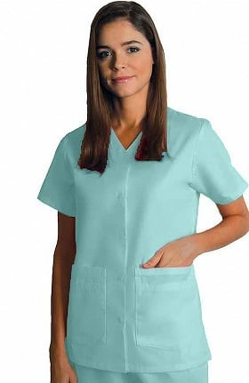Clearance Universal Basics by Adar Women's Double Patch Pocket Snap Front Solid Scrub Top