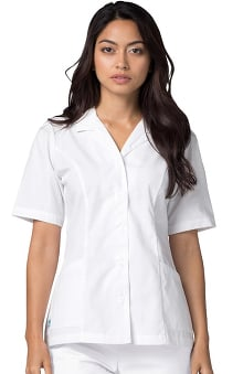 Universal Whiter Whites by Adar Women's Lapel Collar Solid Scrub Top