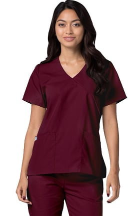 Universal Basics by Adar Women's Mock Wrap Contrast Trim Solid Scrub Top