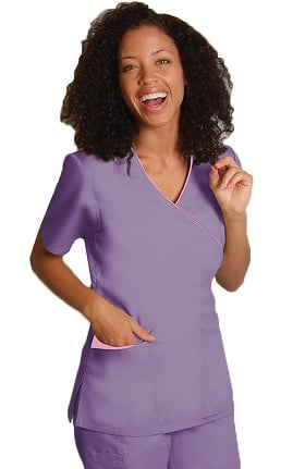 Clearance Universal Basics by Adar Women's Mock Wrap Contrast Trim Solid Scrub Top