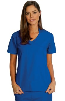 Universal Basics by Adar Women's Asian with Contrast Trim Solid Scrub Top