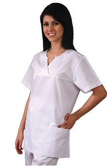 Universal Whiter Whites by Adar Women's Embroidered Yoke Empire Solid Scrub Top