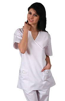 Universal Whiter Whites by Adar Women's Semi-V Mock Wrap Solid Scrub Top with Embroidery