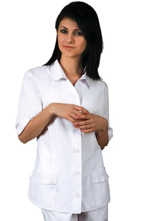 Universal Whiter Whites by Adar Women's Button Down Ruffle Pocket Solid Scrub Top