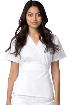 Universal Whiter Whites by Adar Women's Embroidered Crossover Midriff Tunic Solid Scrub Top