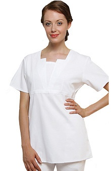 Clearance Universal Whiter Whites by Adar Women's Split V Tunic Solid Scrub Top