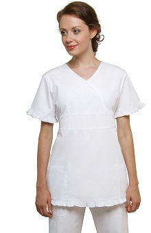 Universal Whiter Whites by Adar Women's V-Neck Double Doll Solid Scrub Top