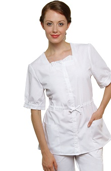 Universal Whiter Whites by Adar Women's Square Neck Hostess Solid Scrub Top