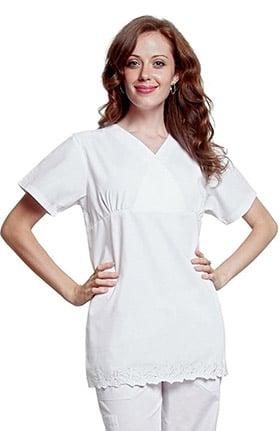 Universal Whiter Whites by Adar Women's V-Neck Daisy Solid Scrub Top