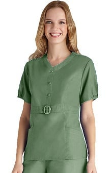 Clearance Universal Basics by Adar Women's Button 'n Buckle Princess Solid Scrub Top