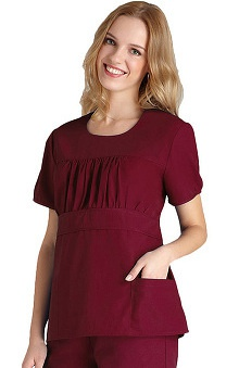 Clearance Universal Basics by Adar Women's Shirred Midriff Solid Scrub Top