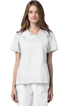 Universal Basics by Adar Women's Solid Scrub Eyelet Tunic Top with Insert