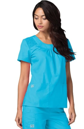 Universal Basics by Adar Women's Scoop Neck Smocked Solid Scrub Top