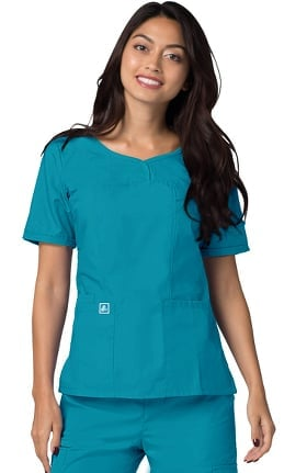 Universal Basics by Adar Women's Sweetheart V-Neck Solid Scrub Top