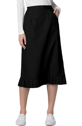 Universal Basics by Adar Women's Pleated Flounce Hem Scrub Skirt