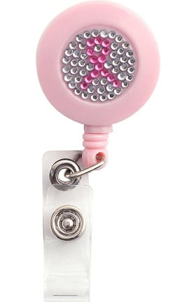 Scrub Stuff Women's Pink Ribbon Bling Badge Reel