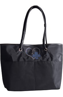 Scrub Stuff Women's Heart Cross Bling Tote Bag