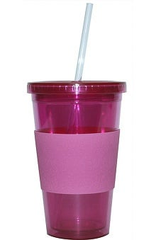 Scrub Stuff Women's Pink Ribbon Cup With Straw