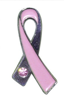 Scrub Stuff Women's Pink Ribbon Pin With Stone