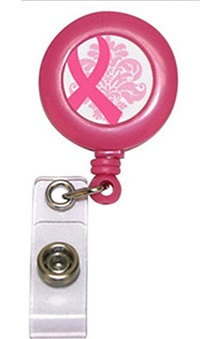 Scrub Stuff Women's Pink Ribbon Print Badge Reel