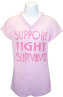 pink ribbon scrubs: Scrub Stuff Women's Bca Short Sleeve V-Neck Print T-Shirt