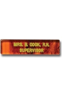 Arthur Farb Tortoise Shell Look Engraved Name Tag with 2 Lines Pin