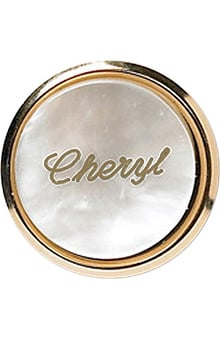 Arthur Farb Round Pearl Engraved Name Tag with Metal Frame Pin