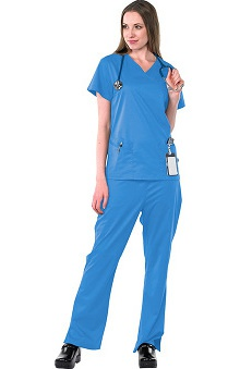 Safety Weave™ Antimicrobial Stretch Classics by AFS Women's Scrub Set with Mock Wrap Top And Flare Leg Pant