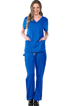 Safety Weave™ Antimicrobial Stretch Luxe by AFS Women's Scrub Set with 2 Pocket Mock Wrap Top And Cargo Pant