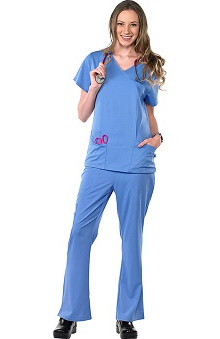 Safety Weave™ Antimicrobial Stretch Luxe by AFS Women's Scrub Set with 2 Pocket Mock Wrap Top And Flare Leg Pant