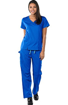 Safety Weave™ Antimicrobial Stretch Luxe by AFS Women's Scrub Set with Mock Wrap Top And Cargo Pant
