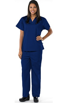 Safety Weave™ Antimicrobial Basics by AFS Unisex Scrub Set with V-Neck Top And Drawstring Pant