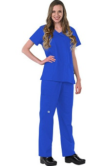 Safety Weave™ Antimicrobial Basics by AFS Women's Scrub Set with V-Neck Top And Elastic Waist Pant